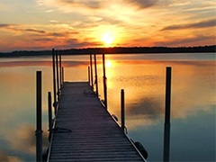 Summer photo - lake and dock at sunset